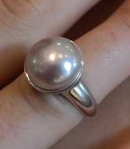pink pearl cup ring