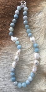 Aquamarine Freshwater Pearl necklace
