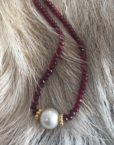 Ruby south sea pearl necklace