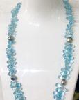Blue Topaz Tahitian Keshi Pearl necklace