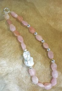 Rose Quartz Freshwater Pearl necklace