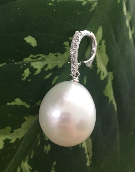 Australian South Sea Pearl enhancer White gold Diamonds