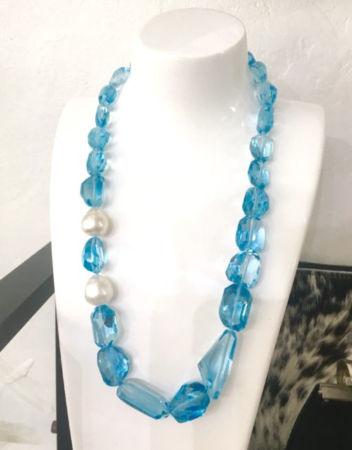 Blue Topaz South Sea Pearl necklace