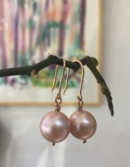 Rose Gold Pink Freshwater Pearl earrings