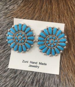 Turquoise Zuni stud earring
