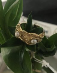 Gold Ripple band ring