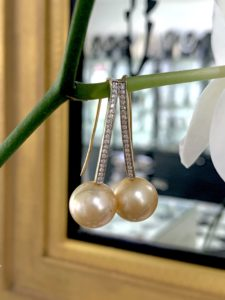 Gold Pearl and Diamond Earring