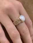 9ct Gold Pearl Log Ring