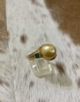 Golden Pearl & Emerald Ring