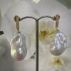 18K Baroque Pearl w/Diamond earrings