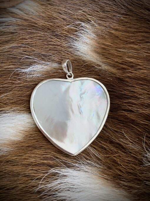 mother of pearl heart shaped sterling silver pendent